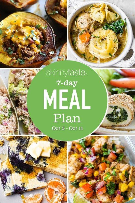 Un plan de comidas flexible gratuito para bajar de peso de 7 días que incluye desayuno, almuerzo y cena y una lista de compras.  Todas las recetas incluyen calorías y WW Smart Points actualizados.
