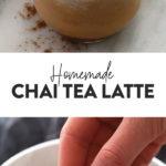 collage de fotos de té chai largo con leche
